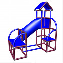 Moveandstic Felix - climbing tower with crawling tube and exit in magenta-blue