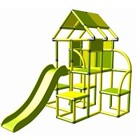 Moveandstic - Lina play tower with slide yellow-apple green