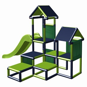 Play tower Gesa - climbing tower for toddlers with slide and fabric inserts apple green-titanium gray