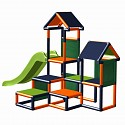 Play tower Gesa - climbing tower for toddlers with slide and fabric inserts orange-titanium gray