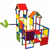 Moveandstic - play- and climbing tower Franz with play phone in multicolor