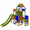 Moveandstic Lisa-large tower with slide orange-blue-apple green