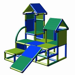 Moveandstic climbing tower Luise in the color combination blue-green-apple green