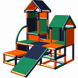 Moveandstic climbing tower Luise in the color combination orange - titanium-grey -  green