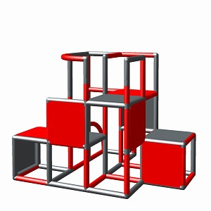 Moveandstic construction kit Profi red-titanium gray