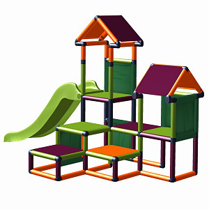 Play tower Gesa - climbing tower for toddlers with slide and fabric inserts apple green-orange-blackberry