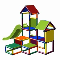 play tower Gesa - climbing tower for toddlers with slide and many of panels multicolor