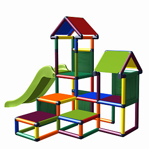 Play tower Gesa - climbing tower for toddlers with slide and fabric inserts multicolored
