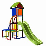 Moveandstic Toni - climbing tower with slide and roof multi-colored