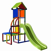 Moveandstic Toni climbing tower with slide and roof multicolour