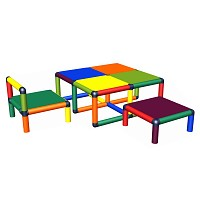 Moveandstic toddler seating group Vanny table, chair and stool multicolored