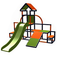Moveandstic - Charlin play tower with slide and slope, apple-green - orange - titanium-grey