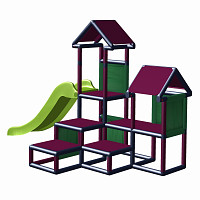 Play tower - Gesa - Climbing tower for toddlers with slide and fabric inserts titanium-grey - magenta