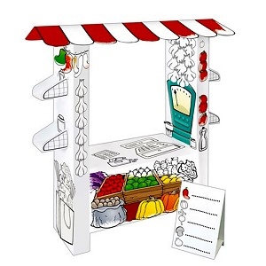 Spielhaus aus Pappe Pappspielhaus Haus zum Bemalen Karton Marktstand Kaufladen