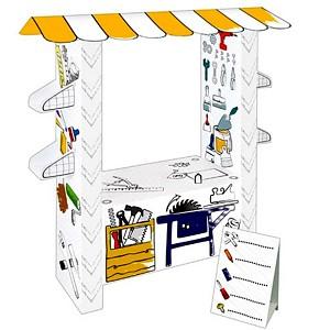 Spielhaus aus Pappe Pappspielhaus Haus zum Bemalen Karton Work Station Werkstatt