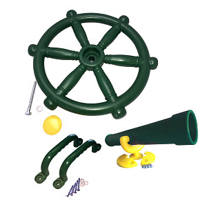 Climbing frame set pirat steering wheel, telescope and handles green