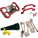 Accessory set for play tower, steering wheel, telescope, 2 handles, knot rope economy set