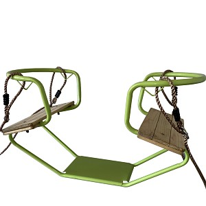 Double swing metal double seat swing face to face apple green
