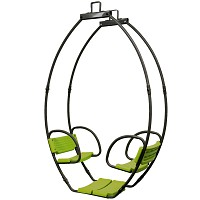 Double swing Cocoon gondola swing made of metal Swing seat for 2 children, gray green
