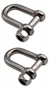 2 Stück Schäkel Verbinder Schaekel D-Schäkel gerade 6 mm Edelstahl Ösenbolzen