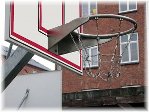 Galvanized basketball hoop with chain net