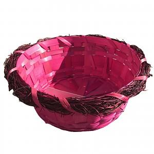 Easter basket Easter basket Easter decoration round pink, empty