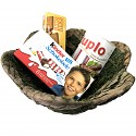 Moss basket filled with duplo, children's chocolate and Leibniz shortbread made from wood