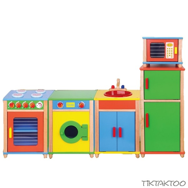 Kitchen Rubber Wood Toys Stove Washing Machine Fridge Sink
