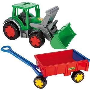 Wader XXL Gigant tractor front loader incl trailer handcart Trekker with trailer