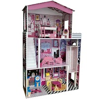 Dollhouse with elevator and 17 piece furniture and decoration set