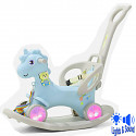 Rocking horse with wheels and push rod ~ LED - blue