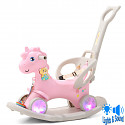 Rocking horse with wheels and push rod ~ LED - pink