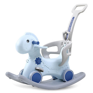 Dino rocker with wheels and push rod - blue