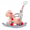Dino rocker with wheels and push rod - apricot