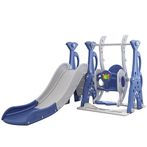 Toddler combination with swing and slide - blue / gray