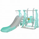 Toddler combination with swing and slide - green / gray