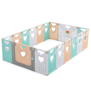 Playpen MAGNUS - green / pink /white