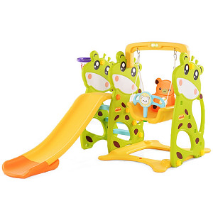 Toddler Combination with Swing and Slide Cow - Green