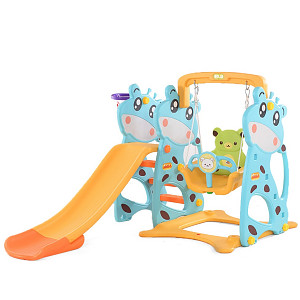 Toddler Combination with Swing and Slide Cow - blue