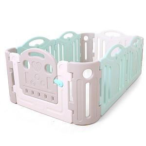 Playpen made of plastic - gray / white / mint