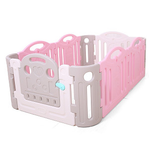 Playpen made of plastic - gray / white / pink
